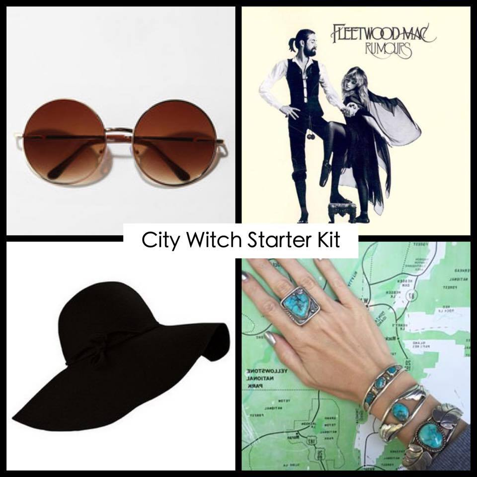"A ""city witch starter kit"" which is just a photo of a large black floppy hat, round sunglasses, a Fleetwood Mac album, and turquoise jewelry."