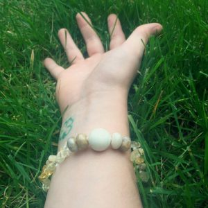 A Power-Bracelet handmade with Citrine chips, Botswana Agate beads, and one large Howlite bead.